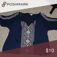 Aeropostale shirt Dark blue and embroidered shirt Aeropostale Tops Blouses