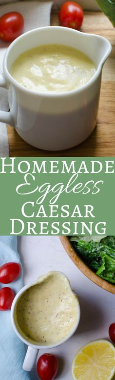 Never buy bottled dressing again! This homemade eggless caesar dressing is everything you want in caesar - garlicky with salty depth and no raw egg! Eggless Recipes, Cooking Recipes, Healthy Recipes, Eggless Baking, Salad Dressing Recipes, Salad Dressings, Ceasar Salad, Egg Free Recipes, Healthy Eating