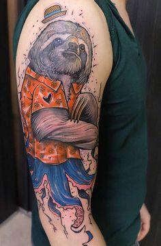 Elschwino Schwein sloth tattoo