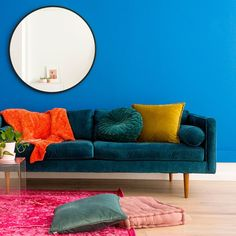 Looking for small makeover tips tricks? Check out this before and after DIY for a small space living room upgraded with a jewel-toned paint color velvet couch and bright pillow accessories. Furniture Dolly, Deco Furniture, Colorful Furniture, Unique Furniture, Shabby Chic Furniture, Furniture Design, Furniture Stores, Small Space Living Room, Small Spaces