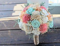 Handmade Wedding Bouquet- Mint Coral Peach Bridal Bouquet, Alternative Bouquet, Sola Flowers, Keepsake Bouquet, Rustic Wedding