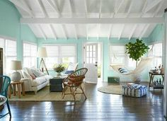 Knot This But That: Beach Bungalow Living Room. Beach bungalow style living room shopped for you at Our Boat House. Beach Cottage Style, Beach House Decor, Home Decor, Retro Beach House, Beach House Colors, Decor Crafts, Country Stil, Country Living, Modern Country