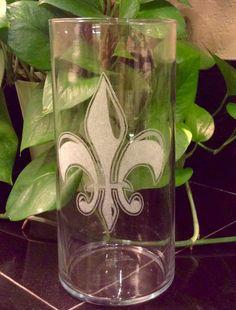 Engraved glass vase Fluer de Lis glass engraved by KimberlyHebert #craftshou0128