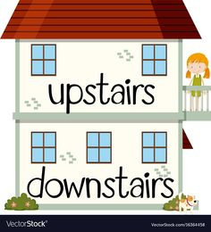 Opposite wordcard for upstairs and downstairs illustration Illustration , Learning English For Kids, English Lessons For Kids, Kids English, English Language Learning, English Study, Teaching English, English Opposite Words, Learn English Words, Toddler Learning Activities
