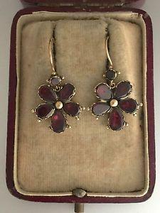 A Wonderful Pair Of Garnet Pansy Earrings Circa 1800's