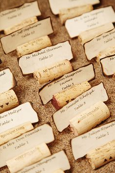 Beach theme wedding - corks place cards and sand - AnnasWeddings.com | NYC Wedding Photographer