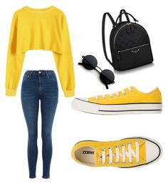 """Casual but cute"" by takayla-ezell on Polyvore featuring Topshop and Converse"