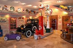 Man Cave - Come Visit Our Early Route 66 Texaco Station - Man Cave Toys, Man Cave Games, Man Cave Art, Man Caves, Toy Garage, Man Cave Garage, Vintage Gas Pumps, Vintage Neon Signs, Old Gas Stations