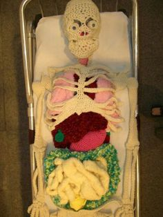 A crocheted/knitted skeleton with organs. This is awesome. Another reason i want someone to teach me to knit