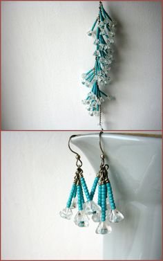 Blue necklace and earrings set seed beads fringe