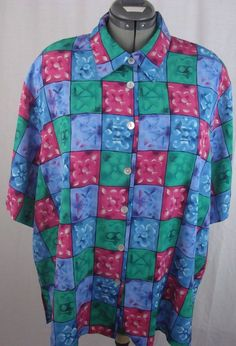 Notations Women's Blouse Plus Size 44/24W Multi-Colored Squares with Flowers #Notations #Blouse #YourChoice