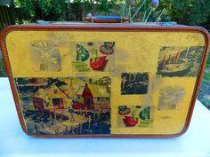 Mid Century Modern Vintage Tweed Suitcase using decals made from vintage barkcloth