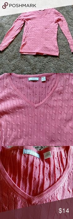 Lady Hathaway cable sweater All Cotton Sweaters V-Necks
