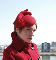 Cocktail hat Strawberry bows Harris tweed pillbox hat. £92.00, via Etsy.