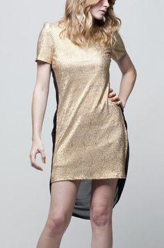 Metallic Padded Shoulder Dress $44