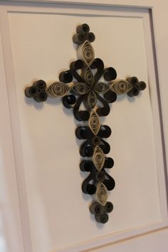 Quilled cross, shades of gray by Kreations by Kelsee facebook.com/kreationsbykelsee