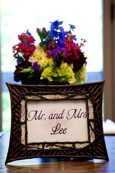 Table numbers display - rustic frames and printed number cards