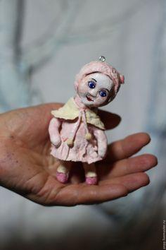 Купить Игрушка ёлочная Полиночка - елочная игрушка, кукла ручной работы, ватная елочная игрушка