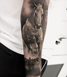 Some horse power for you by ✨✌🏼go check him out! Tattoos Skull, Head Tattoos, Animal Tattoos, Life Tattoos, Body Art Tattoos, Sleeve Tattoos, Cool Tattoos, Tatoos, Western Tattoos