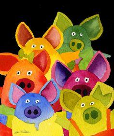 Fun Pigs Art Print.........artist? puecos de colodes pada despidación de colodes...