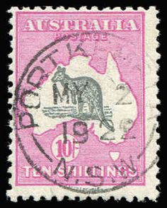 AUSTRALIA - Kangaroos - Third Watermark 10/- Grey & Deep Aniline Pink Watermark inverted BW #48Ba (SG #43aw) very fine used with 'PORT KEMBLA/MY2/1922' datestamp, Cat $3,500 (SG Cat £1,600), retail is higher. Australia Kangaroo, Rare Stamps, Christmas Island, Picture Postcards, Stamp Collecting, My Stamp, Western Australia, Postage Stamps, Colonial