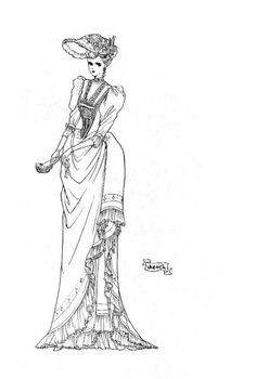 Victorian lady sketch by manga artist Reiko Shimizu.