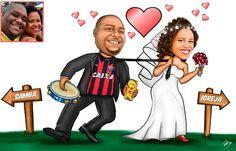 Caricaturas digitais, desenhos animados, ilustração, caricatura realista: Desenho de noivos com tema de futebol e samba !
