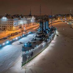 Winter night in St. Petersburg, Russia