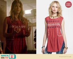 Malia's red embroidered top on Teen Wolf.  Outfit Details: http://wornontv.net/35860/ #TeenWolf