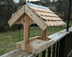 Bird feeder...with individually cut shingles for roof