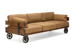 Sofa im Industrial Design auf retro Rädern, im Jeansstoff, Farbe Antik braun                                                                                                                                                                                 Mehr