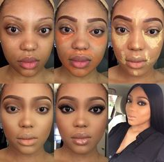 15 Trendy Makeup Tutorial For Black Women Step By Step Eyebrows womens Makeup Natural womens Makeup Prom womens Makeup Wedding womens Makeup Tutorial Makeup Pictorial, Makeup Tutorial Step By Step, Black Woman Makeup Tutorial, Contour Makeup, Beauty Makeup, Hair Makeup, Contour Face, Dark Skin Makeup, Full Face Makeup