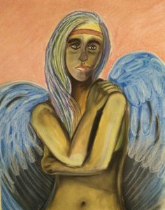 Een engel van krijt. Gemaakt door Anita.