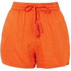 Topshop Woven Beach Shorts (68 BRL) ❤ liked on Polyvore featuring shorts, orange, woven shorts, beach shorts, orange shorts, topshop shorts and rayon shorts