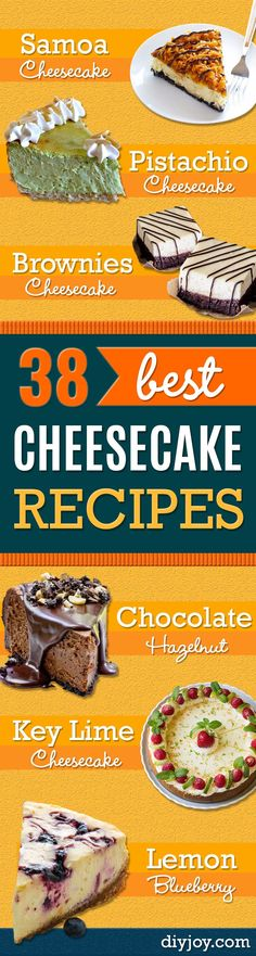 Best Cheesecake Recipes - Easy and Quick Recipe Ideas for Cheesecakes and Desserts - Chocolate, Simple Plain Classic, New York, Mini, Oreo, Lemon, Raspberry and Quick No Bake - Step by Step Instructions and Tutorials for Yummy Dessert - DIY Projects and Crafts by DIY JOY http://diyjoy.com/best-cheesecake-recipes