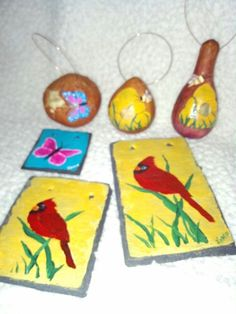 Slate and gourds I painted.
