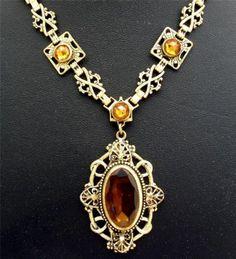 Antique Czech Glass Lavalier Necklace Rhinestone Yellow Rose Cut GF Art Nouveau