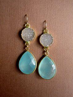 Sand Druzy Earrings Drusy Quartz Bezel Set Chalcedony Drops 14K Gold Fill. $148.00, via Etsy.