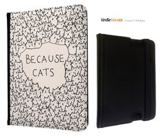 """Cute Because Cats Cool Animals Kindle Fire HDX 7"""" Leather full Case Flip Cover"""