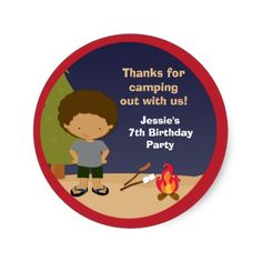 Thank You Stickers Bonfire Birthday, Birthday Party Favors, 7th Birthday, Birthday Parties, Birthday Ideas, Thank You Stickers, Thankful, Camping, Anniversary Parties