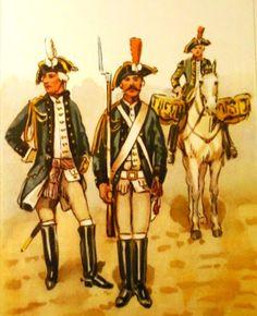 Epoka stanisławowska: Regiment konny Buławy Wielkiej Koronnej 1775-89 r. Od lewej: oficer, dragon, bębenica. Rys. B. Gembarzewski.