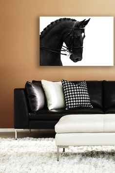 horse art. - love the space and the black and white