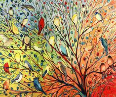 Wall Art - Painting - 27 Birds by Jennifer Lommers Painting Prints, Wall Art Prints, Canvas Prints, Painting Canvas, Bird Paintings On Canvas, Apple Painting, Framed Prints, Ink Painting, Bird Canvas