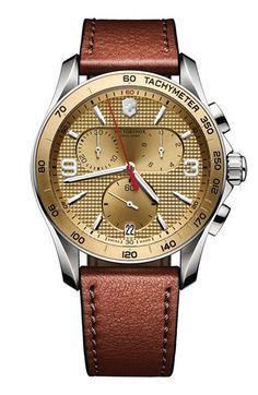 Men's Victorinox Swiss Army 'Chrono Classic' Leather Strap Watch