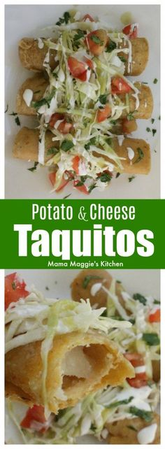 This Potato and Cheese Taquitos Recipe is perfect for game day. A crispy and yummy appetizer that you're sure to love. Serve with your favorite Mexican salsa and enjoy! by Mama Maggie's Kitchen Mexican Dishes, Mexican Food Recipes, Vegetarian Recipes, Cooking Recipes, Spanish Recipes, Yummy Recipes, Keto Recipes, Mexican Appetizers, Yummy Appetizers