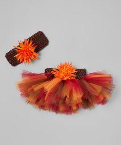 Look at this #zulilyfind! Brown & Orange Flower Tutu & Headband - Infant & Toddler #zulilyfinds