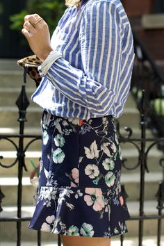 The Blues (the good kind) Sequins And Stripes, Blue Stripes, Style Me, Cool Style, Office Fashion, Pattern Mixing, I Dress, Spring Summer Fashion, Dress To Impress