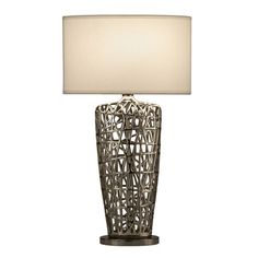 Inspired by the architectural styling of the Beijing Bird's Nest Olympic Stadium, this table lamp has a casual contemporary feel. Chrome Finish with White Linen Oval shade. x x Takes one 150 watt bulb (not included). By Nova Lighting Louis Comfort Tiffany, Contemporary Home Decor, Modern Decor, Peter Pan, Chandeliers, Lamp Shade Store, Room Lamp, Hacks, Unique Lamps