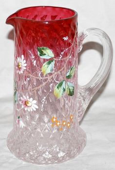Vintage American Cranberry to Clear Glass Pitcher with enameling.