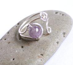 Adjustable Silver Ring  Lavender Lilac Purple by FantasiaElegance, $8.50